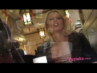Natural exhibitionist in Chinese Restaurant video
