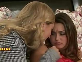 Mom kissing nice teen