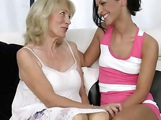 Smalltit teen lesbian granny