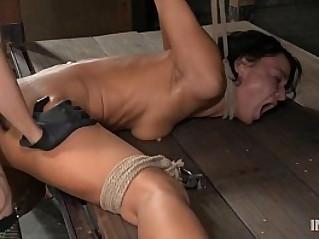 Contortionist gets fucked in lezdom bondage