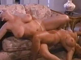 Blonde brunette and blonde lesbians suck and rub pussies together on More