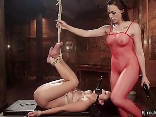 Lesbian in fishnet anal fucks asian