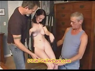 Teen girl get fucked on cum on in a swing by old guys